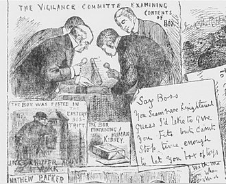 Whitechapel Vigilance Committee - Members of the Vigilance Committee examine the contents of the box sent to Lusk