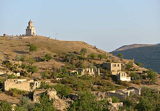 Village of Karaglukh in the Hadrut Province of Nagorno-Karabakh. John the Baptist church.jpg
