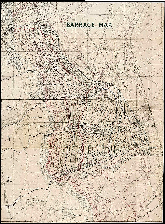 Vimy Ridge 1917-barrage map