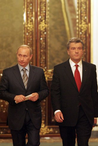 Russia–Ukraine gas disputes - Vladimir Putin and Viktor Yushchenko (12 February 2008)