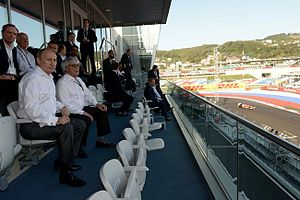 2014 Russian Grand Prix - Russian President Vladimir Putin (foreground, left) and Formula One Administration CEO Bernie Ecclestone (foreground, right), spectating during the Grand Prix.