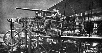 Voisin - 1910 experimental two-seater biplane with mitrailleuse fired by the passenger
