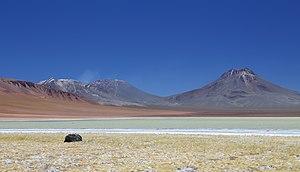 Lascar (volcano) - Lascar is on the centre-left, Aguas Calientes right.