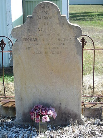 God's Acre Cemetery - Headstone for Volney Grenier, first burial in the cemetery
