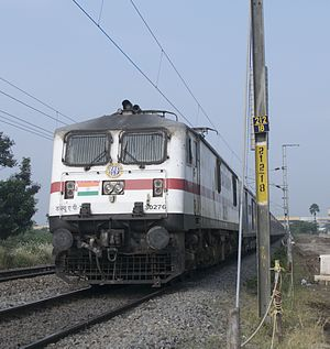 Indian Railways - A WAP 7 class broad gauge AC electric locomotive.