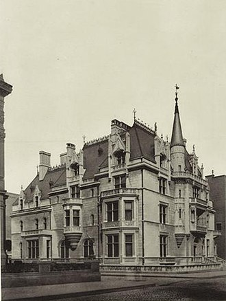Richard Morris Hunt - The William K. Vanderbilt House or the Petit Chateau in 1886, 660 Fifth Avenue, New York City