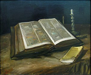 Lost works by Vincent van Gogh - Still Life with Bible, 1885, Nuenen.