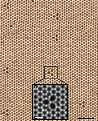 Tungsten diselenide - Atomic image of a WSe2 monolayer showing hexagonal symmetry and three-fold defects. Scale bar: 2nm (0.5 nm in the inset).