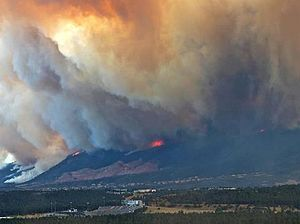 Waldo Canyon Fire - The fire moving towards the Mountain Shadows area of Colorado Springs.