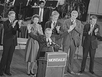 United States presidential election in Iowa, 1984 - Mondale speaks to press on the night of his narrow primary victory in the Iowa caucuses. Des Moines, Iowa, February 2, 1984.