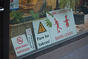 Norwegian warning signs.