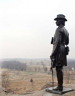Little Round Top - Monument of Gen. Warren looking over the battlefield from Little Round Top