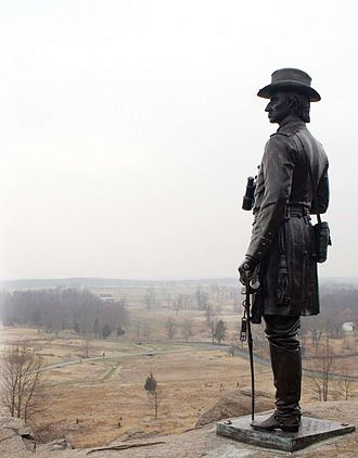 Little Round Top - Monument of Gen. Warren looking over the battlefield from Little Round Top