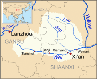 Wei River - The drainage basin of the modern Wei.