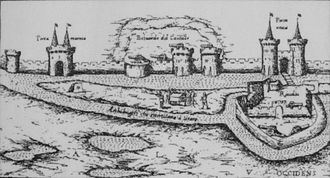 Vauclair castle - Western side of La Rochelle with remaining towers of Vauclair castle and filled moats (center), by Antonius Lafreri, Rome, circa 1573.