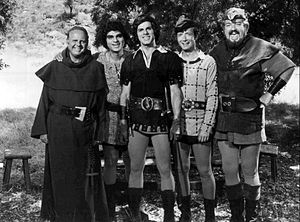 Richard Dimitri - From When Things Were Rotten (1975). L-R: Dick Van Patten, Richard Dimitri, Dick Gautier, Bernie Kopell, David Sabin