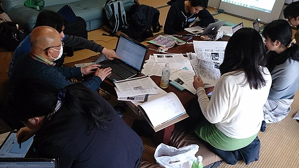 京都永運院におけるWikipediaタウンの様子