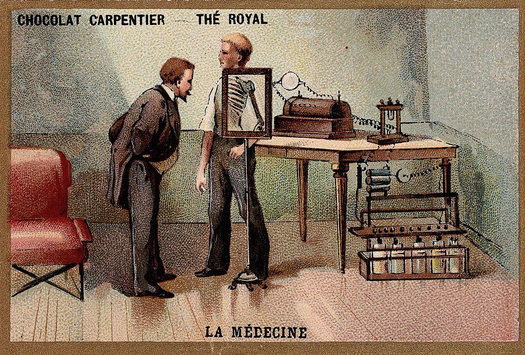 Wilhelm Conrad Roentgen, mirando a través de una pantalla de rayos X.