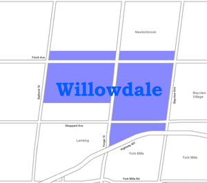 Willowdale, Toronto - Image: Willowdale map