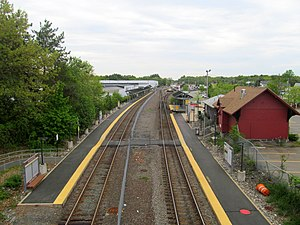 Wilmington station from Route 62 bridge, May 2016.JPG