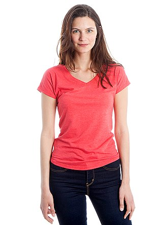 T-shirt - A woman wearing a pink v-neck t-shirt