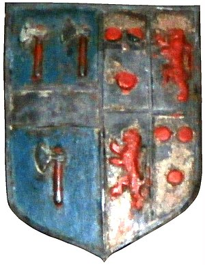 William Courtenay (died 1630) - Arms of Sir William Wrey, 1st Baronet (d.1636), impaling Courtenay of Powderham. His wife was Elizabeth Courtenay, 3rd daughter of Sir William Courtenay (1553–1630) of Powderham. Detail from monument of his father John Wrey (d.1597) in Tawstock Church, Devon