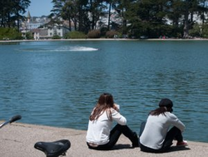 Spreckels Lake - Watching a fast electric on Spreckels Lake - June 2, 2013