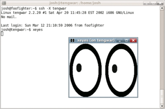 Secure Shell - Example of tunneling an X11 application over SSH: the user 'josh' has SSHed from the local machine 'foofighter' to the remote machine 'tengwar' to run xeyes.