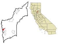 Yuba County California Incorporated and Unincorporated areas Marysville Highlighted.svg