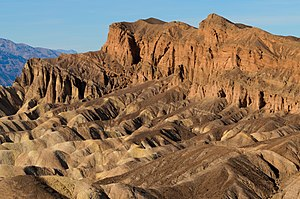 Zabriskie Point - Close-up of Red Cathedral, to the right of Manly Beacon