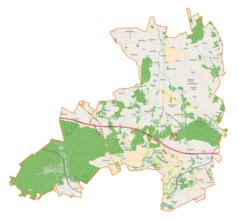 """Mapa konturowa gminy wiejskiej Zgierz, po lewej nieco na dole znajduje się punkt z opisem """"Grotniki"""""""