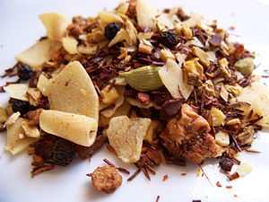 Herbal tea - Image: Zingiber Ginger Coconut Rooibos Teavana tisane