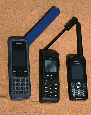 Satellite phones, showing the large antennas needed to communicate with the satellite Zivile Satellitentelefone.jpg