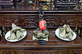 Zongzi Stacks with Discs on Table 20150620.jpg