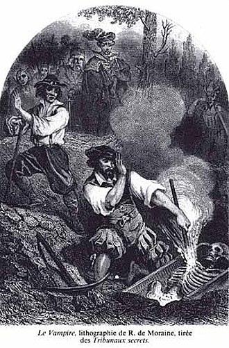 Vampire - Lithograph by R. de Moraine from 1864 showing townsfolk burning the exhumed skeleton of an alleged vampire