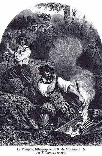 "Lithograph by R. de Moraine from 1864 showing townsfolk burning the exhumed skeleton of an alleged vampire. ""Le Vampire"".jpg"