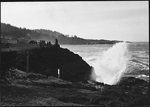 U.S. Route 101 - Hwy 101 as a gravel road in Depoe Bay on the central Oregon coast in 1938