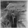 """Stewart Mountain Dam. View of downstream cut-off wall, looking toward right wall."" - NARA - 294633.tif"