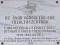 'Az Óvár városi tűó.-ság tűzoltószertára' emléktábla, Régi Vámház tér 9, 2017.jpg