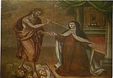 Christ with Saint Teresa of Avila, holding a thorn to pierce her heart