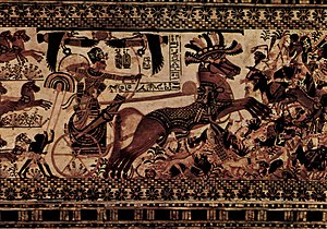 Tutankhamun at war. His death might have been caused by the crash of such a chariot.