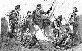 Krivošije uprising (1869) - Armed Krivošije tribesmen, from an 1885 sketch