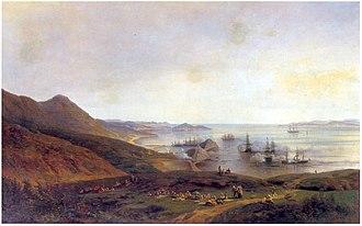 Siege of Petropavlovsk - Image: Оборона Петропавловского порта на Камчатке
