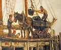 'Unloading coal at a wood jetty – Holy Island' by Ralph Hedley (cropped).jpg