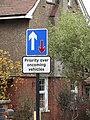 -2018-12-06 Priority road sign, High street, Mundesley.JPG