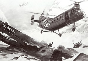 210th Rescue Squadron - Artist's concept of a 10th Air Rescue Group SH-21 coming to the assistance of the crew of a 5040th Radar Evaluation Squadron TB-29 (44-70039) out of Elmendorf AFB that crashed in the Talkeetna Mountains, north of Anchorage, Alaska on 15 November 1957. Six were killed and four survived, kept alive by the least injured survivor.   An SA-16 Orbits overhead, providing communications.
