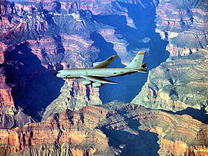 161st Air Refueling Wing KC-135 flies over the Grand Canyon.jpg