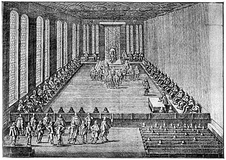 Imperial Count - Meeting of the Perpetual Imperial Diet in Regensburg in 1640, after an engraving by Matthäus Merian