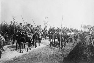 3rd Cavalry Brigade (United Kingdom) - The Retreat from Mons: 16th Lancers on the march, September 1914.