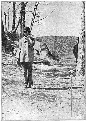 Nathan Stubblefield - Nathan Stubblefield using his ground-current wireless telephone to receive a March, 1902 test transmission at Washington, D.C.